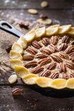 Pecan pie for Thanksgiving Dinner. Delicious Pecan pie for Thanksgiving Dinner Royalty Free Stock Photography