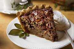 Pecan Pie with vintage plate and serving utensil Royalty Free Stock Photo