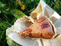 Pecan pie in wrapper in the grass fall royalty free stock image