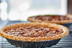 Pecan pies cooling on a rack Stock Photo