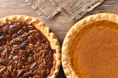 Pecan and Pumpkin Pies Stock Image