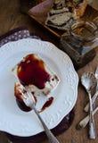 Pecan Stuffed Camembert With Spicy Wine Sauce Stock Image