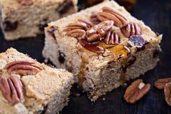 Pecannoot en donkere chocolade blondies Royalty-vrije Stock Fotografie