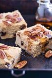 Pecannoot en donkere chocolade blondies Royalty-vrije Stock Foto