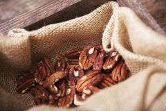 Pecans in Linen Stock Photos