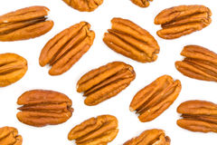 Pecans on White Royalty Free Stock Photography