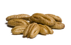 Pecans on White Royalty Free Stock Photos