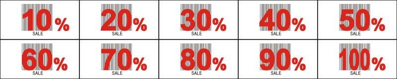 pecentual försäljning för etikett Arkivbilder