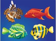 Peces de mar rojos stock de ilustración