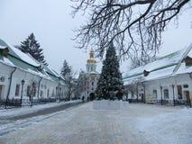 Pechersk拉夫拉在冬天 免版税库存照片