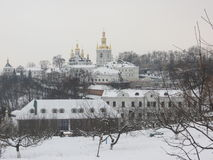 Pechersk Lavra in de winter stock afbeelding