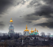 Pechersk Lavra in stormy weather Stock Image