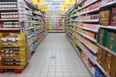 Scaffale del supermercato Fotografia Stock