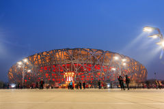 Pechino la scena di notte del nido del ` s dell'uccello Immagine Stock