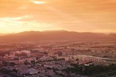 Pechino nell'ambito dei raggi del tramonto Immagini Stock Libere da Diritti