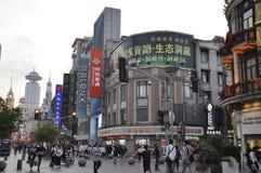 Pechino, 2th può: Scena di notte sulla strada di Nanchino del pedone da Pechino in Cina immagine stock libera da diritti