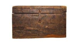 Pecho antiguo, marrón, aislado en el fondo blanco fotografía de archivo