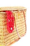 Pecho de la artesanía y collar coralino rojo Imágenes de archivo libres de regalías