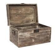 Pecho de madera abierto viejo foto de archivo libre de regalías