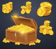 Pecho de madera viejo con las monedas de oro Muchos tesoros en estilo del juego ilustración del vector