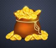 Pecho de madera viejo con las monedas de oro Muchos tesoros en estilo del juego libre illustration