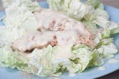 Pecho de pollo cocido al horno con una preparación blanca Imágenes de archivo libres de regalías