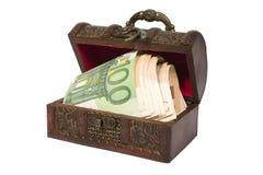 Pecho de tesoro con euro Fotos de archivo