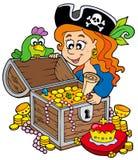Pecho de tesoro de la apertura de la mujer del pirata Imagen de archivo libre de regalías
