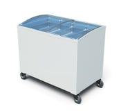 Pecho del congelador en el fondo blanco 3d rinden los cilindros de image Fotografía de archivo libre de regalías