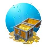 Pecho del oro en la arena debajo de las nubes azules - ejemplo del vector para el diseño, fondos, postales Vector stock de ilustración