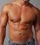 Pecho masculino y abdomen musculares descamisados Fotos de archivo