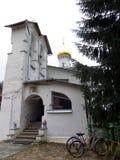 Pechora. Pskov Caves Monastery. Saint Nikolas chapel. Russia. Pskov. 2013, August 09. Pechora. Pskov Caves Monastery. Detailed view of Saint Nikolas chapel Royalty Free Stock Image