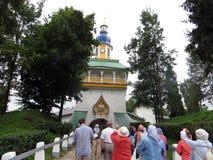 pechora Pskov scava il monastero Entrata principale Immagine Stock