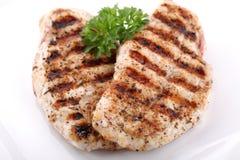 Pechos de pollo asados a la parilla con las verduras frescas Imágenes de archivo libres de regalías