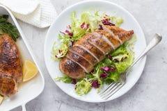 Pechuga de pollo asada con la ensalada fresca Imagen de archivo libre de regalías
