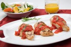 Pechuga de pollo asada a la parrilla con la salsa del estragón del tomate. Imagen de archivo libre de regalías