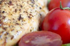 pechuga de pollo cocida con el tiro macro de los tomates rojos imagen de archivo libre de regalías