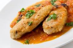 Pechugas de pollo de Provencal pescadas con caña Imagenes de archivo