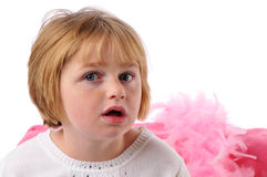 Pecial needs girl. Special needs girl isolated against a white background stock photo