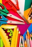 Pecils, scissors, rulers, paintbrushes Royalty Free Stock Photo