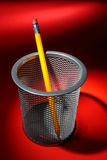 Pecncil in Wire Mesh Cup Holder Royalty Free Stock Images