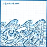 Pecore bianche dell'mano-illustrazione artistica nell'oceano Immagine Stock Libera da Diritti