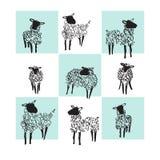 Pecore in bianco e nero Illustrazione di vettore royalty illustrazione gratis