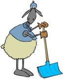 Pecore che si appoggiano una pala della neve illustrazione di stock