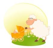 Pecore con il carrello di bambino dello scarabocchio Immagini Stock Libere da Diritti