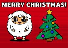 Pecore con l'albero di Natale Fotografia Stock Libera da Diritti