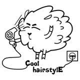 Pecore con un hairdryer Fotografia Stock Libera da Diritti