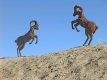 Pecore del Big Horn - metallo Sculture Immagine Stock Libera da Diritti