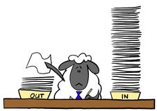 Pecore dell'ufficio che fanno lavoro di ufficio Fotografie Stock