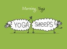 Pecore divertenti che fanno yoga, schizzo per la vostra progettazione Fotografia Stock Libera da Diritti
